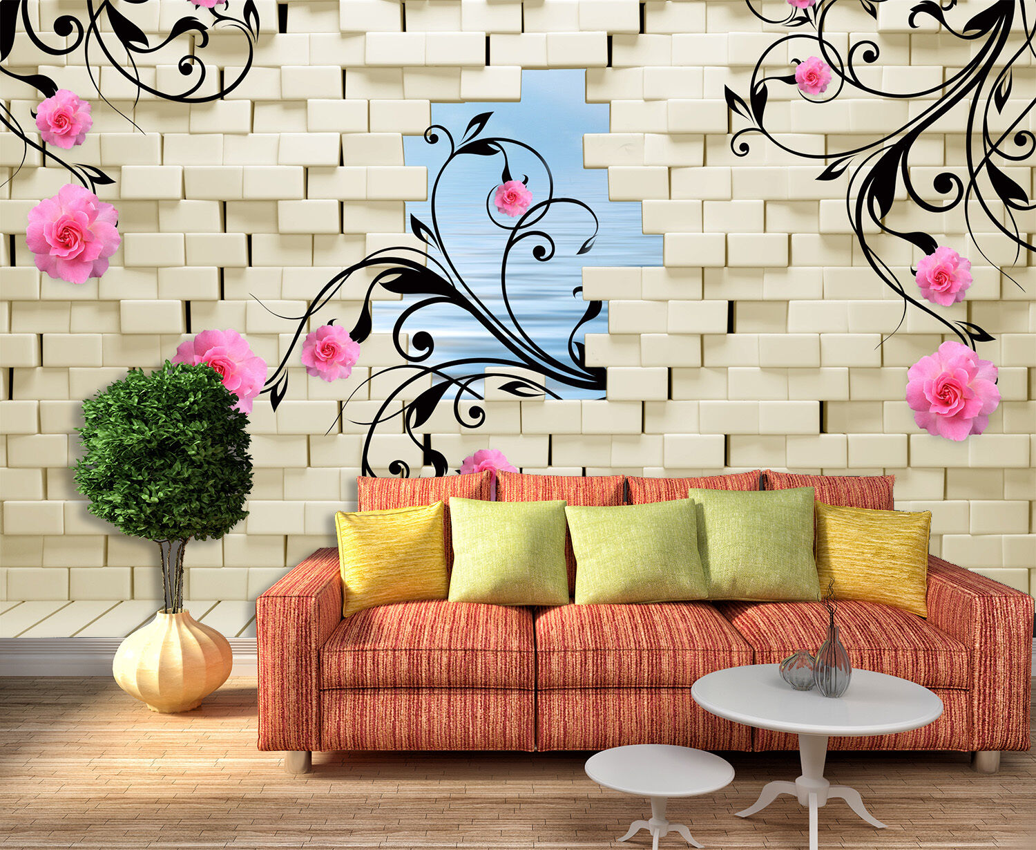 3D Flowers, leaves 456 Wall Paper Print Wall Decal Deco Indoor Wall Murals
