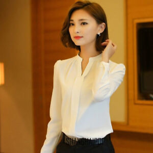 Women-Ladies-Shirt-V-Neck-Long-Sleeve-Drape-Slim-Fit-White-Shirts-Elegant-Tops
