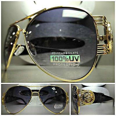Mens CLASSIC OVERSIZE VINTAGE HIP HOP RAPPER Style SUNGLASSES Gold & Black Frame