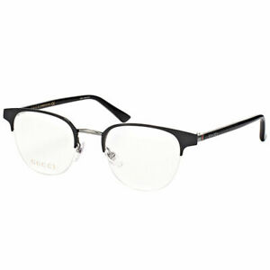 af3e153ff98 New Authentic Gucci GG0020O 001 Black Metal Round Eyeglasses 49mm ...