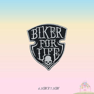 Biker-For-Life-Bikers-Group-Embroidered-Iron-On-Patch-Sew-On-Badge