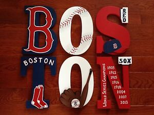 Custom Personalized Hand Painted Boston Red Sox Wood