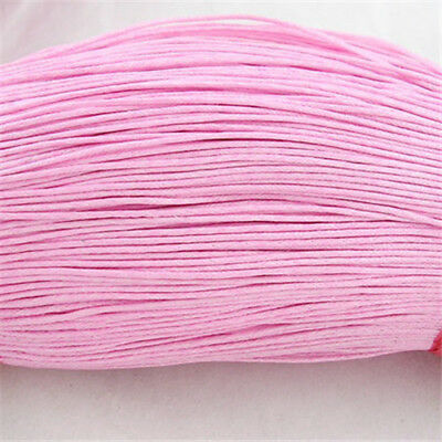 1Bundle//400m Pink Chinese Cotton Wax Bead Cord Jewerly Crafts Making DIY 1mm