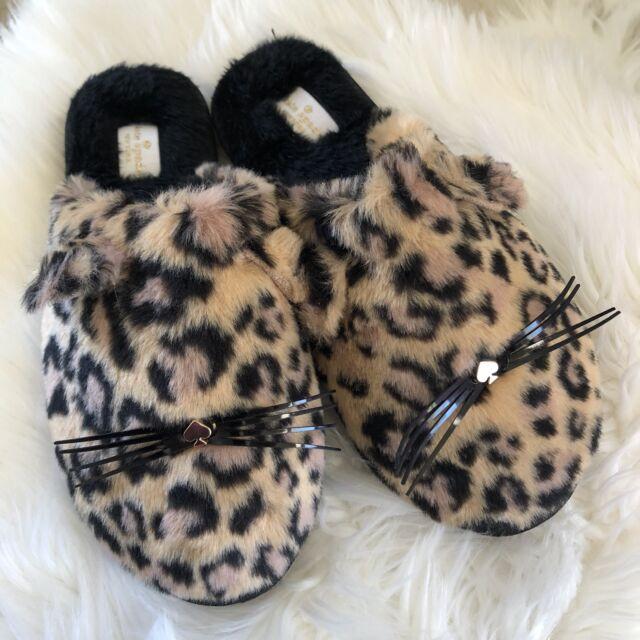14c8187d4fd8 Kate Spade Womens Belindy Leopard Print Logo Whiskers Slippers House Shoes  Sz 7
