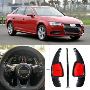 Carbon-Fiber-Gear-DSG-Steering-Wheel-Paddle-Shifter-Cover-Fit-For-Audi-A4-17-18