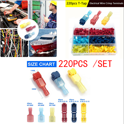 180x T-Tap Electrical Wire Crimp Terminals Quick Splice Cable Connectors Durable