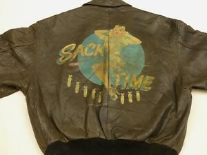 30045713643 Avirex Vintage A2 Pilot s Leather Jacket Sack Time Pin Up Air Force ...