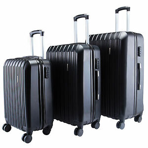 3Pcs Luggage Travel Set Bag ABS Spinner Trolley Suitcase w/TSA ...