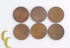 1935-Mo-Mexican-20-Centavos-Lot-VF-AU-6-coins-Mexico-City-Veinte-20c-KM-437