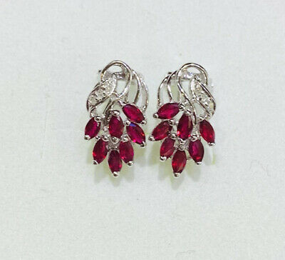 Natural Ruby with Natural Diamond Cluster Earrings Solid 14kt White Gold