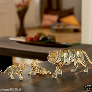 SWAROVSKI-SILVER-CRYSTAL-2010-ANNUAL-S-C-S-TIGER-WITH-2-CUBS-MINT-IN-BOX