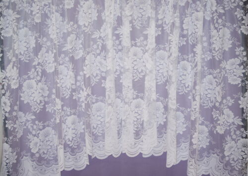 MARRIELLA FLORAL JACUARD JARDINIERE WHITE NET CURTAIN BEDROOM LOUNGE KITCHEN