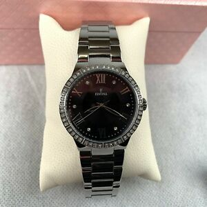 Festina-Women-039-s-Quartz-Watch-Black-Silver-Stainless-Steel-Strap-Analog-F16719-2