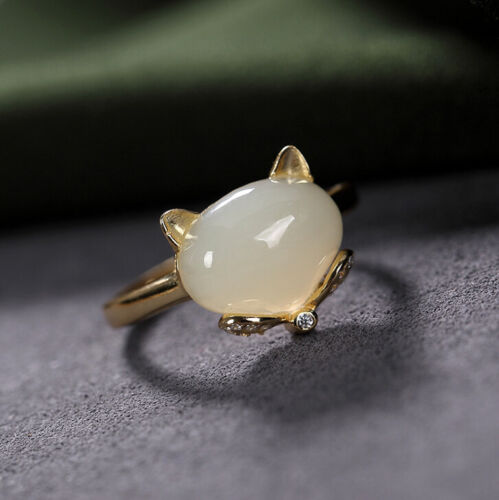 F02 Ring Fuchs Made of Silver 925 Gold Plated White Jade Crystal Adjustable Size