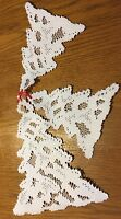 Heritage Lace white Christmas Tree's Window Decor 3 In Set (482)