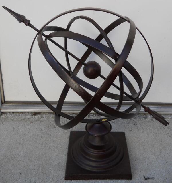 24 Large Iron Armillary Sphere With Arrow Garden Decor