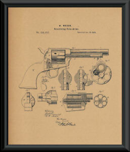 1875-Colt-45-Revolving-Pistol-Patent-Reprint-On-100-Year-Old-Paper-P143