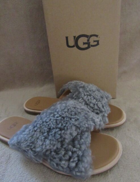785b656f61d UGG Australia 1092989 Joni Lude Grey Sheepskin Sandals Shoes US 8 EUR 39 NWB