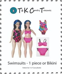 Sewing Pattern for Curvy Barbie Fashionista Doll Clothes by TKCT Swimsuits