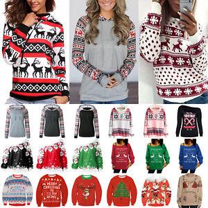 Womens-Xmas-Christmas-Ugly-Hoodie-Hooded-Sweatshirt-Sweater-Jumper-Pullover-Tops
