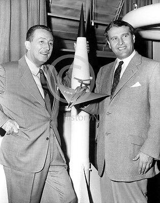 1954 WERNHER VON BRAUN & WALT DISNEY V-2 ROCKET PHOTO HISTORICAL