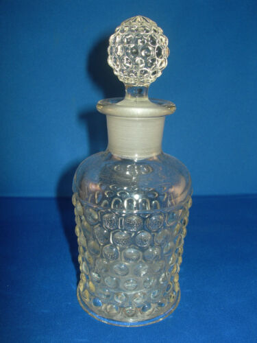 """Hobnail"" Clear Glass Perfume Decanter 6.5"" X 2.5"" Classic & Lovely LK & SEE!"