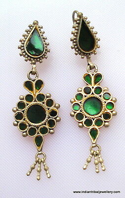 Traditional design handmade solid silver earring hoop vintage women/'s tribal jewelry gorgeous belly dance jewelry from rajasthan india