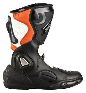 Motorradstiefel-XLS-Touringstiefel-Boots-Schwarz-Weiss-KTM-Orange-Gr-40-41-45