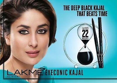 22 HOUR STAY - Lakme Eyeconic Kajal, BLACK, 0.35g- 1pc