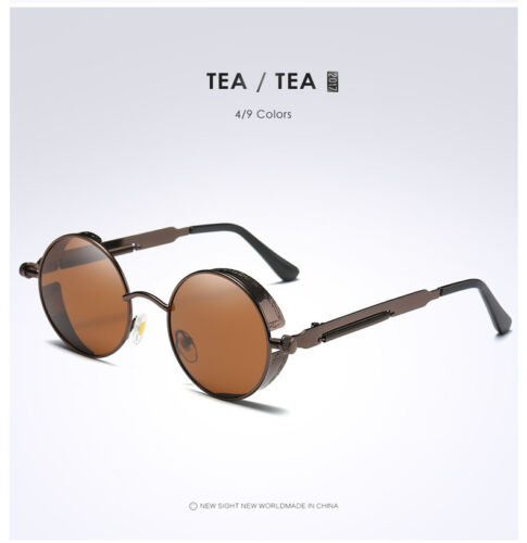 HOT Vintage Polarized Steampunk Sunglasses Fashion Round Mirrored Retro Sunglass