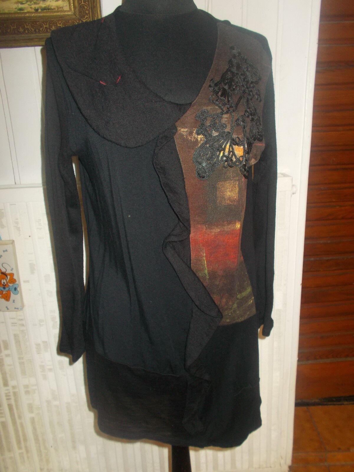 Petite Robe schwarz AVENTURES DES TOILES 46 brodé dessus imprimé manches longues
