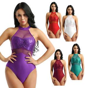 Women-Ladies-Adult-Halter-Sequins-Bodysuit-Ballet-Dance-Costume-Leotard-Unitards
