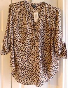 Torrid-Harper-Blouse-Pullover-Roll-Tab-Sleeve-00-M-L-10-Leopard-Print