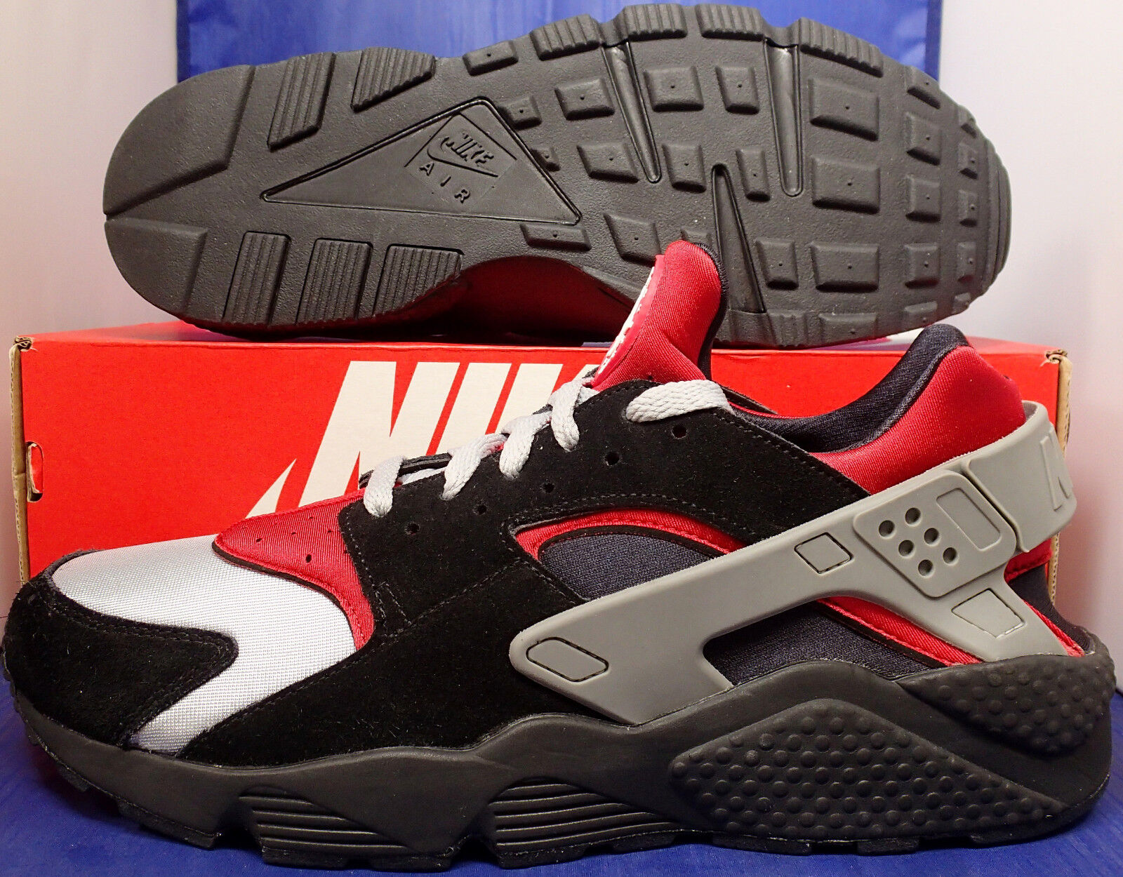 Nike Air Huarache Run iD Black Grey Red SZ 12 ( 777330-997 )