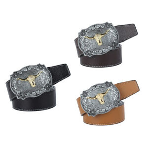 Vintage-Women-Men-Leather-Belt-Buckle-Cowboy-Rodeo-Tau-Leather-Strap-Western