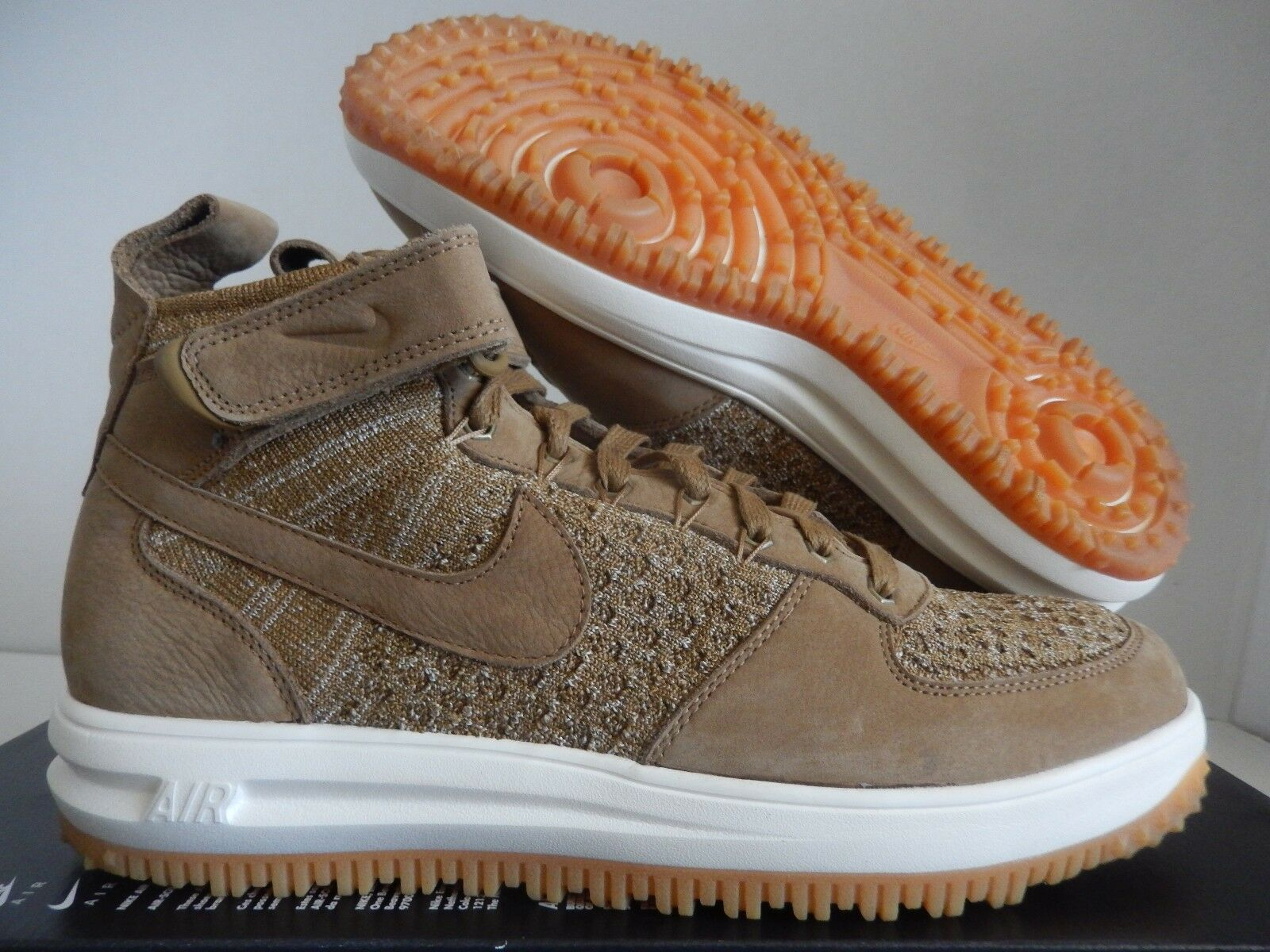 the latest 6015b 0a291 NIKE LUNAR FORCE 1 FLYKNIT WORKBOOT goldEN BEIGE BEIGE BEIGE WHEAT SZ 10.5   855984-