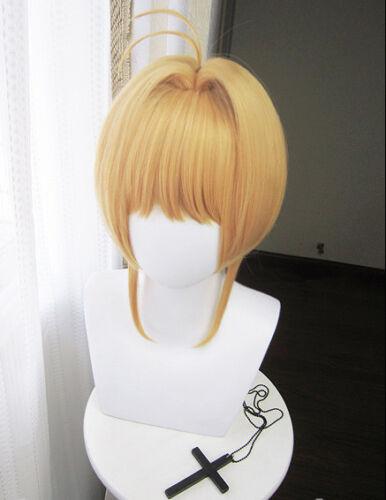 Card-captor Sakura Clear Card Cosplay Perücke wig kurz short Gold Blond