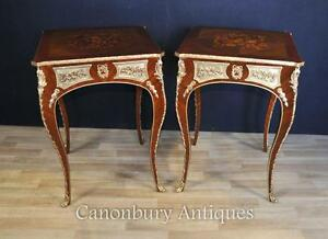 Pair Louis XVI Side Tables French Furniture Marquetry Inlay - <span itemprop='availableAtOrFrom'>Potters Bar, United Kingdom</span> - Returns accepted Most purchases from business sellers are protected by the Consumer Contract Regulations 2013 which give you the right to cancel the purchase within 14 days after the  - Potters Bar, United Kingdom