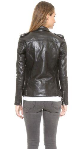 Real High Women's Style Slim Jacket Leather Fit Biker Quality Black qX16xUwU