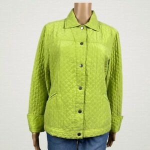 Coldwater Creek Quilted Silk Snap Front Light Jacket MEDIUM Chartreuse Green