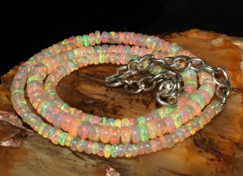 """40 Ctw 1Necklace 3to5 mm16/"""" Beads Natural Genuine Ethiopian Welo Fire Opal*T1389"""
