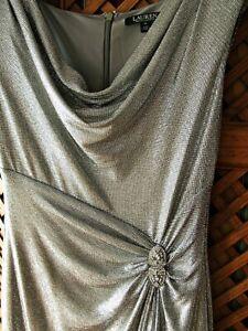 kleid abendkleid ralph lauren größe 6 38/40/42 silber glitzer stretch metallic  ebay