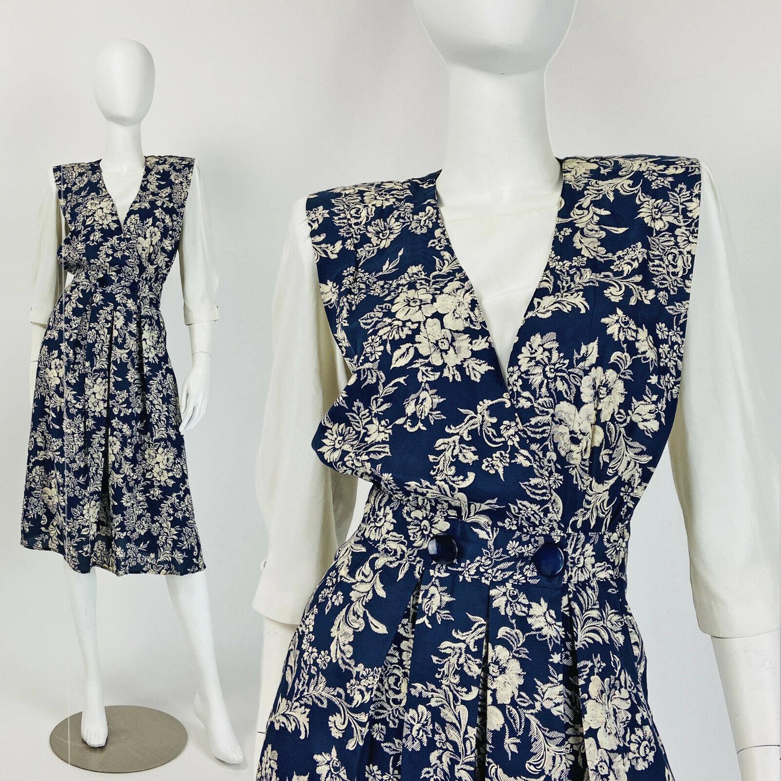 Floral Dress Career Dress Size 6 8 US 10 12 UK B282 Navy Blue Dress Shoulder Pad Dress Small Medium Vintage 80s Secretary Dress