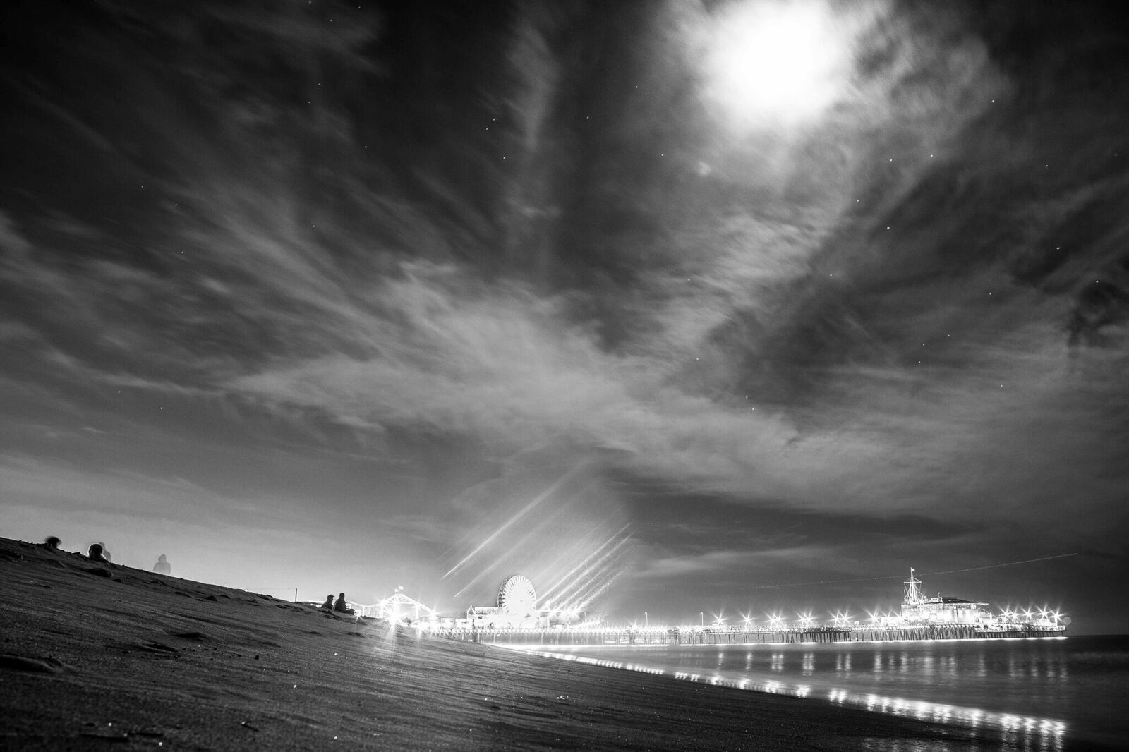 Santa Monica Beach Pier Los Angeles California Canvas Print Metal Art Cityscape