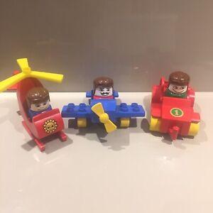 Lego-Duplo-Vintage-80s-Vehicle-Sets-2622-2624-Little-Plane-Helicopter-Racing-Car
