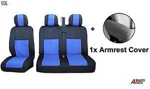 2-1-Negro-Azul-Tela-Suave-amp-Apoyabrazos-Cubiertas-Para-Asientos-Ford-Transit-Van