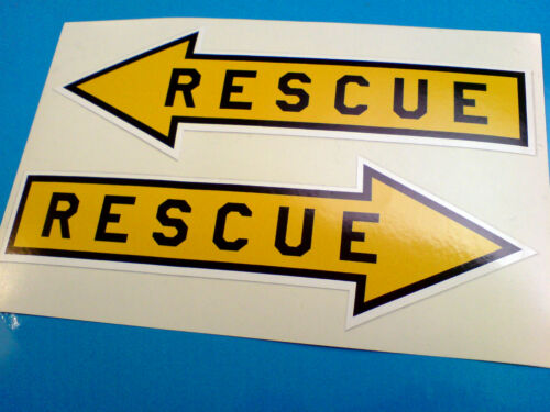RESCUE Aircraft Humerous Car Stickers Decals 2 off 150mm