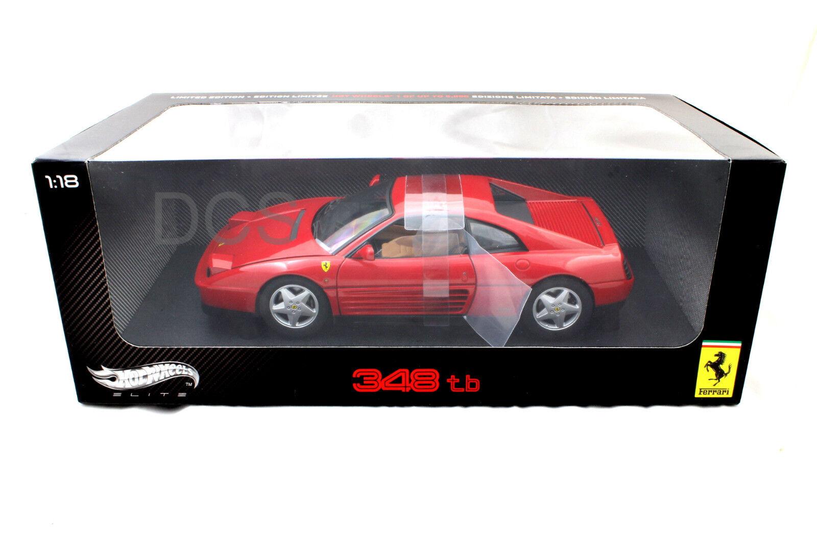 Hot Wheels Elite Edición 1989 Ferrari 348 Tb rosso 1 18 Diecast v7436