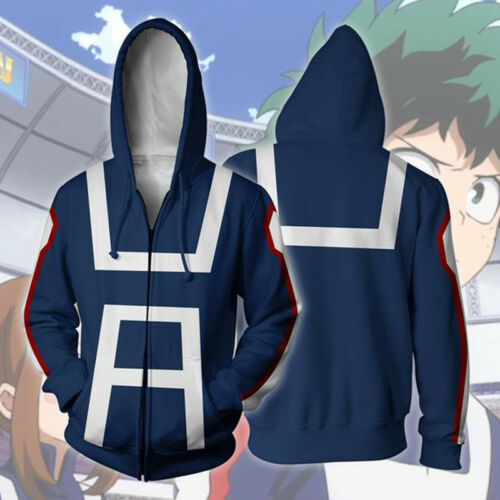 My Boku no Hero Academia Cosplay Hoodie Zip Coat Izuku Shoto Bakugo Sweatshirt