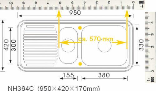 """Grand® Einbauspüle 1,5 Becken Ablagefläche reversibel 3,5/"""" Ablauf 95 x 42 x 17"""